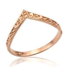 Rose Gold Wedding Ring V Shaped Art Deco 14K Gold by netawolpe -- wedding band?