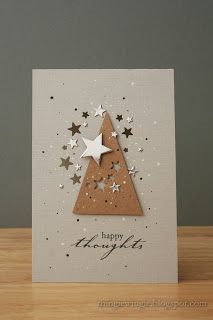 handmade greeting card from little things ... clean and simple ... triangle tree cut from kraft and mounted on vanilla ... negative space punched stars in tree and a sprinkling of stars on top form a circle ... great design!! - star love
