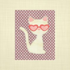 Cat with heart glasses Kids wall art Nursery art by RosyHuesArt, $14.00