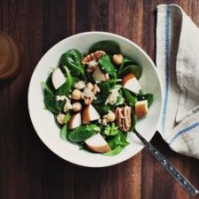 Great website! heaps of Veggie recipes( not all vegetarian) this is a pic of theSpinach, Quinoa and Pear Salad