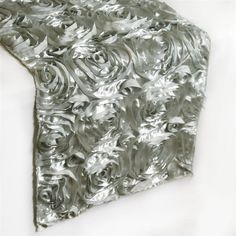 Grandiose Rosette Willow Green Satin Runner For Table Top Wedding Catering Party Event Decorations - - ChairCoverFactory Satin Ribbon Roses, Ribbon Rosettes, Event Themes, Event Decor, Silver Table, 3d Rose, Banquet Tables, Different Light, Wedding Catering