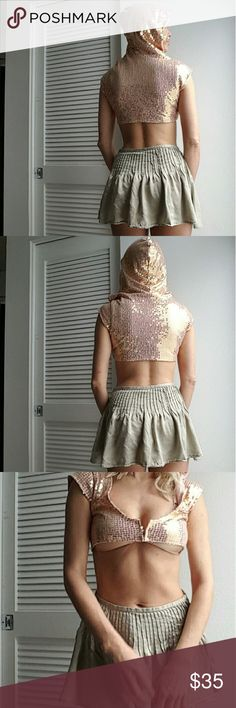 """Free People rare rose gold sequid crop hoodie top Such a cute piece, reminds me of unif or jeffrey scott. This has been in my """"for photo shoot"""" part of closet for a while - its beautiful! Free people Free People Tops Crop Tops"""
