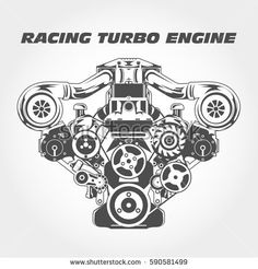 Racing engine with supercharger power - turbo motor Automotive Logo, Automotive Design, Turbo Motor, Engine Tattoo, Bugatti Cars, Ferrari, Most Popular Cars, Reverse Trike, Cars Coloring Pages