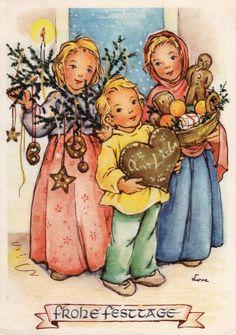 AK, WEIHNACHTEN, Kinder gratulieren mit feinen Lebkuchen, Herz, Kringel Brezeln*   eBay