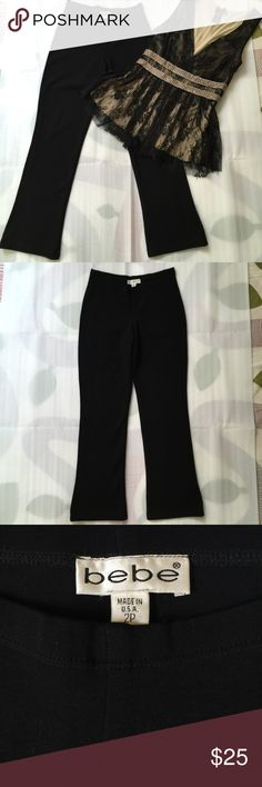 "bebe Black Stretch Pants bebe black stretch pants with elasticized waistband. 75% rayon, 17% nylon, 8% spandex. Pants sit low at the waist, have a very slight flare and hit at the ankle, which gives a very sexy look. Size 2P, waist 25"", inseam 26.5"", front rise 8"". The front rise measurement (crotch to waistband) determines where the pants will sit at your waist. Very nice fabric. bebe Pants Ankle & Cropped"