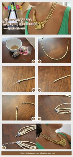 diy knot necklace with gold seed beads