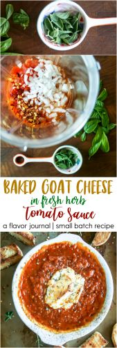 baked goat cheese in herb tomato sauce