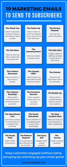 Write powerful emails that engage customers and promote sales for your business with these 19 email ideas!
