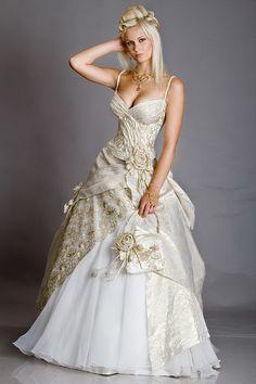 Robe de mariée or