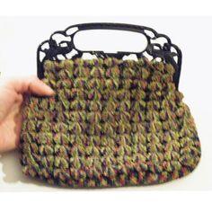 Antique Vintage Dark Blue Art Deco Bird 1920s Crochet Purse Knit ...
