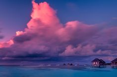 Beautiful Sunset in Maldives - Beautiful sunset over the sea on a cloudy day in Maldives.