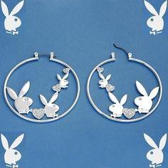 Playboy Earrings Bunny Hearts Swarovski Crystals Hoops #Playboy #Hoop #cybergirl #playmate