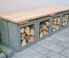 Brennholzbank selber bauen