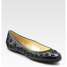 Jimmy Choo Western Star Studded Ballet Flats ($495) found on Polyvore