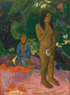 Paul Gauguin (artist) French, 1848 - 1903 Parau na te Varua ino (Words of the Devil), 1892 oil on canvas overall: x cm x 26 in. Paul Gauguin, National Art, National Gallery Of Art, Art Gallery, Gauguin Tahiti, List Of Paintings, Impressionist Artists, Poster Prints, Art Prints
