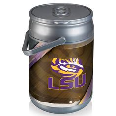 Picnic Time 690-00-000-294-0 Louisiana State University Tigers Digital Print Can Cooler in Silver/Gray