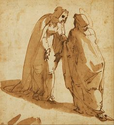 Luca Cambiasi (1527–1585)    Details of artist on Google Art Project Title	The Visitation Object type	drawing Date	circa 1580 Medium	pen & b...