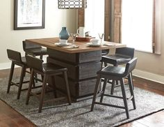 7 pc rochelle dark brown finish wood counter height dining table set with swivel chairs. This set includes the table, 6 - side chairs with padded seats. Table measures x x H. Side chairs measure x x H. Additional chairs also avail