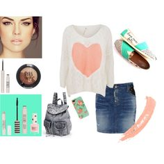 """""""Coral & Torquoise {Topshop Beauty}"""" by crista-yannayon95 on Polyvore"""