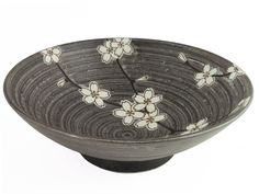 Stylish Spiral Forest Green Cherry Blossom Porcelain Serving Plate