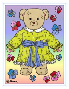 Karen`s Paper Dolls: Doll and Bear Postcards to Print in Colours. Dukke og bamse postkort til at printe i farver.