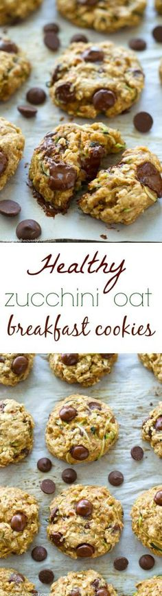 Healthy Zucchini Oat Breakfast Cookies Jam-packed with all kinds of heart-healthy goodness, sneaky zucchini, and tons of gooey chocolate, these soft 'n' chewy breakfast cookies are the best way to start the day! Whole and Heavenly Oven Healthy Cookies, Healthy Sweets, Healthy Recipes, Oat Cookies, Healthy Breakfast Cookies, Heart Healthy Meals, Protein Recipes, Simple Recipes, Protein Foods