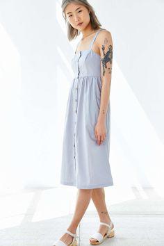 Cooperative Button-Front Poplin Midi Dress
