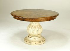 BAUSMAN & CO. / 2516 ROUND PEDESTAL TABLE / CLASSIC PIE TOP / HI LO PLANKING