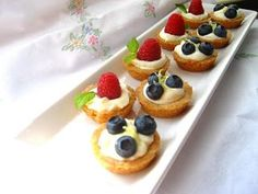 Home Cooking In Montana: Mini Fruit Tarts...Filled with a Lemon Curd Mousse and a Shortbread crust.