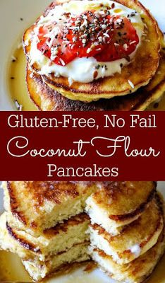 Pancakes These Gluten-Free, No Fail, Coconut Flour Pancakes will rock your socks off! They're THAT good and THAT easy!These Gluten-Free, No Fail, Coconut Flour Pancakes will rock your socks off! They're THAT good and THAT easy! Keto Pancakes Coconut Flour, No Flour Pancakes, Gluten Free Pancakes, Gluten Free Breakfasts, Gluten Free Recipes, Low Carb Recipes, Cooking Recipes, Breakfast Pancakes, Almond Flour