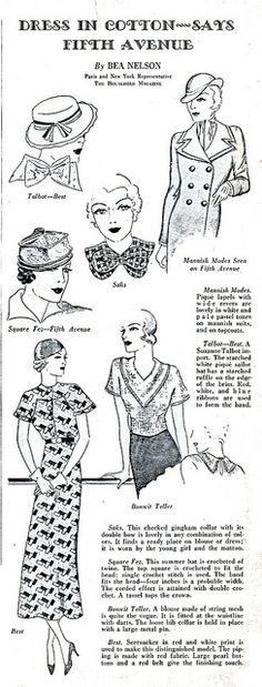 Dress in cotton says Fifth Avenue ~ The Household Magazine, July 1933.