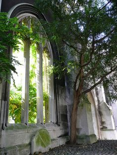 Ruined Church during the 1941 WWII Blitz it is now a park - St Dunstan-in-the-East Church, London