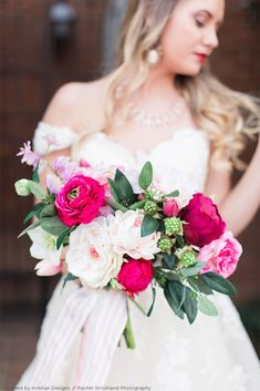 You've come to just the right place! Easily piece together your wedding designs with gorgeous silk flowers in shades of pink.Shop All Silk Wedding Flowers Photographer: Rachel Strickland Photography Hot Pink Bouquet, Pink Wedding Theme, White Wedding Bouquets, White Wedding Flowers, Bridal Bouquets, Floral Wedding, Wedding Colors, Wedding Dresses, Watermelon Wedding
