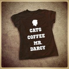 Slim Fit Cats Coffee Mr. Darcy ladies' t shirt by LittleLiterary