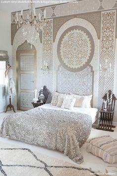 Estênceis personalizados Vinil em prata metálico monocromático quarto pintado por Modello Designs stencils e Stencil Creme de pintura