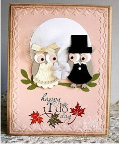 Full photograph of my owl wedding card Playing along with the Less is More gals for Glamour & Glitz challenge this week but my card might be too intricate to some but I like it and hope you do too! To view more details and photos on my blog: www.StudioMbyMarian.blogspot.com http://studiombymarian.blogspot.com/2012/11/a-perfect-fall-wedding-i-do-photos-and.html Would like to know what YOU think? Posted by Marian Garcia P.S. please forward and share with friends that love the owl builde...