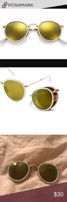 2919bbfa400b1 Ray-Ban RayBan foldable glasses WHITE RIM FOLDABLE GOLD TINTED LENSE ROUND  SHAPE NWOT Accessories Glasses