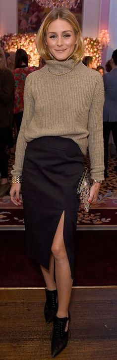 Olivia Palermo dresses up a turtleneck oatmeal sweater with a pencil skirt for evening