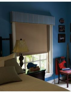 Tailored Upholstered Cornice layered over Blackout Roller Tranquility Shade Window Treatments, Bedroom Inspirations, Home Bedroom, Shades Blinds, Bold Bedroom, Custom Window Blinds, Inside Home, Curtains With Blinds, Honeycomb Shades