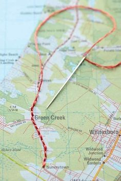 Remember a favorite road trip by stitching it into a plain ol' map. | 19 Things You Didn't Know You Could Embroider