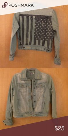 Light Blue Jean Jacket with American Flag EUC! Great for a country concert. Is perfect pair with the lacy crop top in my closet Francesca's Collections Jackets & Coats Jean Jackets