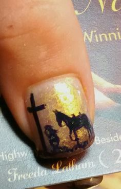Nail art is gorgeous, I just love all of the styles people… Horse Nail Art, Horse Nails, Holiday Nails, Christmas Nails, Western Nail Art, Gell Nails, Country Nails, Camo Nails, Christmas Nail Art Designs