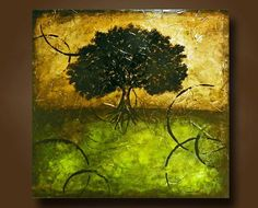 Art Painting of Abstract Tree with Metallic Paints Original Acrylic Painting by Britt Hallowell
