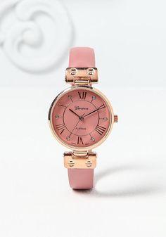 Pink Roman Numeral Rhinestone Watch - Heartbreaker - Trends