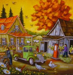 Christine Genest Art Houses, Scenery Paintings, Perfect Peace, Down On The Farm, Pyrography, Beautiful Paintings, Pretty Pictures, Caricature, Art Lessons