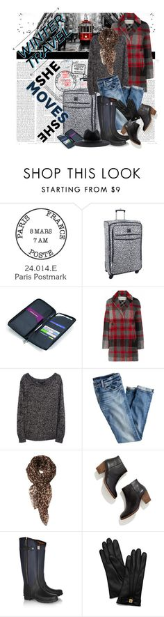 """Winter Travel"" by corrinem1 ❤ liked on Polyvore featuring Passport, Diane Von Furstenberg, Troika, Été Swim, Burberry, rag & bone, J.Crew, Madewell, Hunter and Tory Burch"