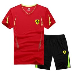 2018 New Summer Men Set Sporting Suit Short Sleeve T shirt+Shorts Two Piece Set Sweatsuit Quick Drying Tracksuit For Men T Shirt And Shorts, Sport T Shirt, Tee Shirts, Casual Suit, Casual T Shirts, Full Tracksuit, Track Suit Men, Man Set, Slim Fit Pants