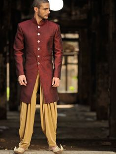 Pure silk textured Indo-western suit