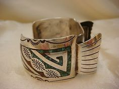 ZUNI TURQUOISE WATCH BAND CUFF STERLING SILVER 925 INLAID JR VINTAGE
