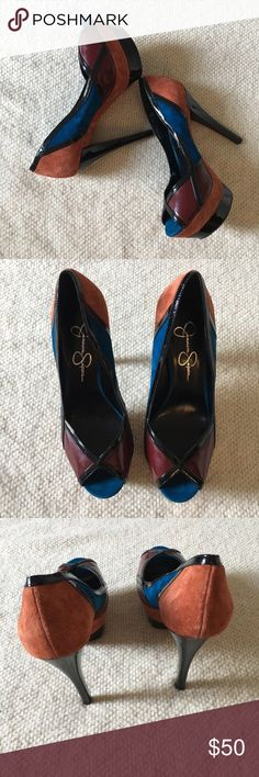 Jessica Simpson Platform Heels These are GORGEOUS Jessica Simpson platform heels in size 8. They have a color block design with suede and patent leather. They are in excellent condition! Jessica Simpson Shoes Heels